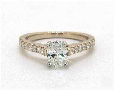 Common Prong Side-Stone Engagement Ring in 18K Yellow Gold 1.9mm Width Band (Setting Price)