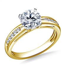 Contemporary Channel Set Round Diamond Engagement Ring in 14K Yellow Gold (1/7 cttw.) | B2C Jewels