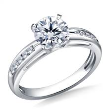 Contemporary Channel Set Round Diamond Engagement Ring in 18K White Gold (1/7 cttw.) | B2C Jewels