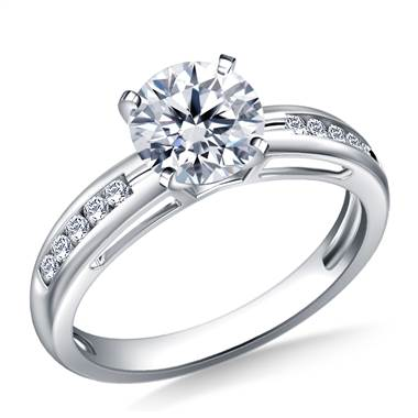 Contemporary Channel Set Round Diamond Engagement Ring in 18K White Gold (1/7 cttw.)