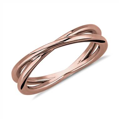 Contemporary Criss-Cross Ring in 14k Rose Gold