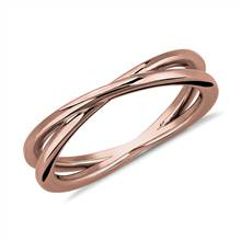 Contemporary Criss-Cross Ring in 18k Rose Gold | Blue Nile