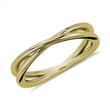 Contemporary Criss-Cross Ring in 18k Yellow Gold | Blue Nile