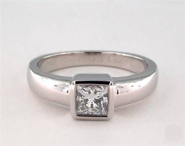 Contemporary Solitaire Bezel-Princess Engagement Ring in Platinum 4mm Width Band (Setting Price)