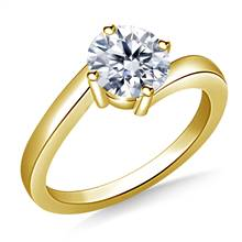 Contemporary Solitaire Diamond Ring in 14K Yellow Gold (2.0 mm) | B2C Jewels