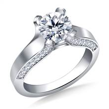 Curved Prong Round Diamond Engagement Ring with Side stones in 18K White Gold | B2C Jewels