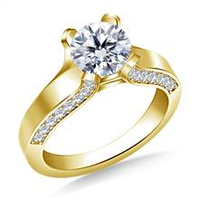 Curved Prong Round Diamond Engagement Ring with Side stones in 18K Yellow Gold | B2C Jewels