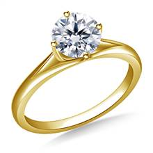 Curved Prong Set Solitaire Engagement Ring in 14K Yellow Gold (2.8 mm) | B2C Jewels