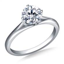 Curved Prong Set Solitaire Engagement Ring in 18K White Gold (2.8 mm) | B2C Jewels
