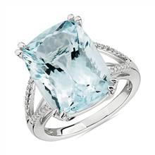 Cushion Cut Aquamarine and Diamond Cocktail Ring in 14k White Gold | Blue Nile