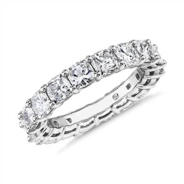 """Cushion Cut Diamond Eternity Ring in Platinum (4.5 ct. tw.)"""