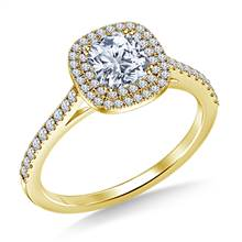 Cushion Cut Double Halo Cathedral Diamond Engagement Ring in 18K Yellow Gold | B2C Jewels