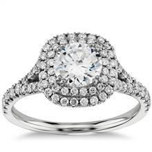 Cushion Duet Halo Diamond Engagement Ring in 18k White Gold (1/2 ct. tw.) | Blue Nile