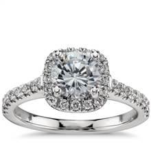 Cushion Halo Diamond Engagement Ring in Platinum (1/3 ct. tw.) | Blue Nile