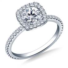 Cushion Halo Engagement Ring for Round Diamond in 14K White Gold   B2C Jewels