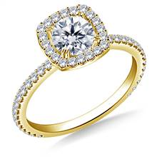 Cushion Halo Engagement Ring for Round Diamond in 18K Yellow Gold | B2C Jewels
