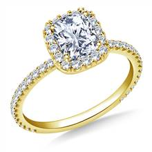 Cushion Halo Engagement Ring in 14K Yellow Gold | B2C Jewels
