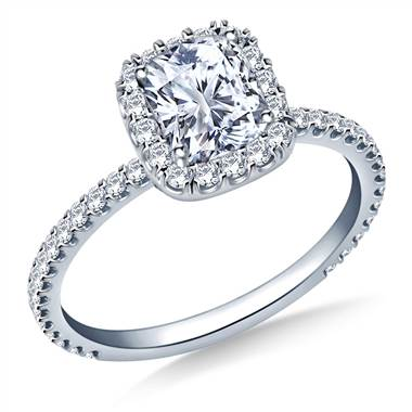 Cushion Halo Engagement Ring in Platinum