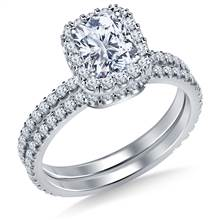 Cushion Halo Engagement Ring with Matching Band in 18K White Gold   B2C Jewels