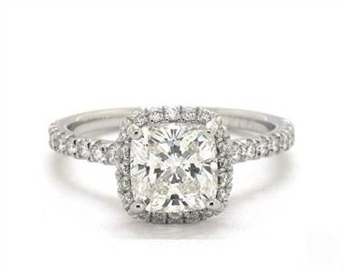 Cushion Halo Pave .34ctw Engagement Ring in 18K White Gold 1.8mm Width Band (Setting Price)