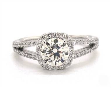 Cushion Halo Split Shank Pave Engagement Ring in Platinum 4.2mm Width Band (Setting Price)