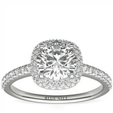 Cushion Rollover Diamond Halo Engagement Ring in 14k White Gold (3/8 ct. tw.) | Blue Nile