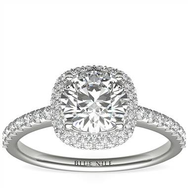 Cushion Rollover Diamond Halo Engagement Ring in 14k White Gold (3/8 ct. tw.)