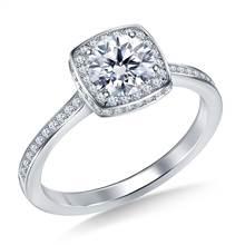 Cushion Shape Halo Round Diamond Engagement Ring in 14K White Gold   B2C Jewels