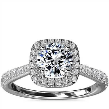 Cushion-Shaped Diamond Bridge Halo Diamond Engagement Ring in 14k White Gold (1/3 ct. tw.)