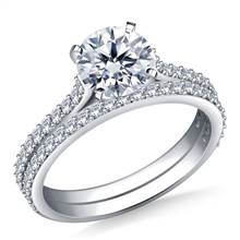 Dainty Prong Set Round Diamond Ring and Matching Band in 14K White Gold (1/2 cttw.) | B2C Jewels
