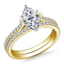 Dainty Prong Set Round Diamond Ring and Matching Band in 18K Yellow Gold (1/2 cttw.) | B2C Jewels