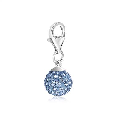 December Birthstone Charm with Tanzanite Colored Light Blue Crystal in Sterling Silver