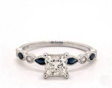 Delicate Blue Sapphire & Diamond Engagement Ring in Platinum 4mm Width Band (Setting Price)