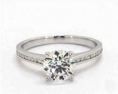 Delicate Channel-Set Engagement Ring in 2.5mm 18K White Gold (Setting Price)