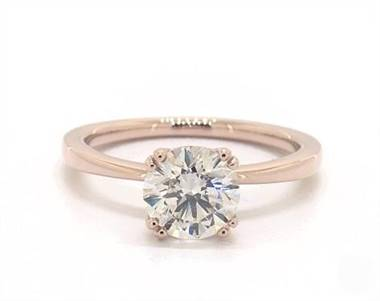 Delicate Double-Prong Curved Solitaire Engagement Ring in 14K Rose Gold 1.9mm Width Band (Setting Price)