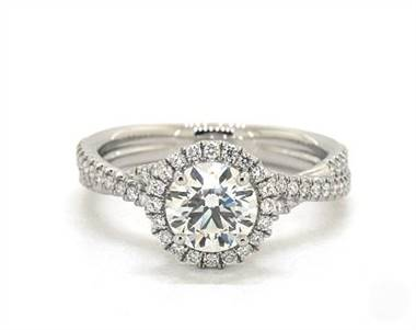 Delicate Pave Halo & Twisted Shank Engagement Ring in Platinum 3.1mm Width Band (Setting Price)