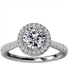 Diamond Bridge Halo Diamond Engagement Ring in 14k White Gold (1/3 ct. tw.) | Blue Nile