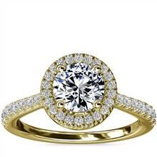 Diamond Bridge Halo Diamond Engagement Ring in 14k Yellow Gold (1/3 ct. tw.)   Blue Nile
