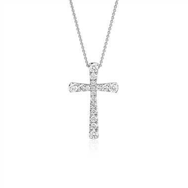 """Diamond Cross Pendant in 14k White Gold (1/2 ct. tw.)"""