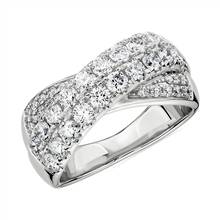Diamond Double Row Crossover Ring in 14k White Gold (1 1/4 ct. tw.) | Blue Nile