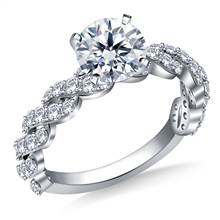 Diamond Embellished Twist Shank Engagement Ring in 14K White Gold (3/4 cttw) | B2C Jewels