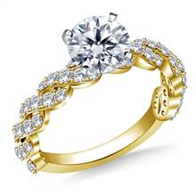 Diamond Embellished Twist Shank Engagement Ring in 18K Yellow Gold (3/4 cttw) | B2C Jewels