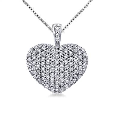 Diamond Encrusted Pave Set Heart Pendant in 14K White Gold (1.00 cttw)