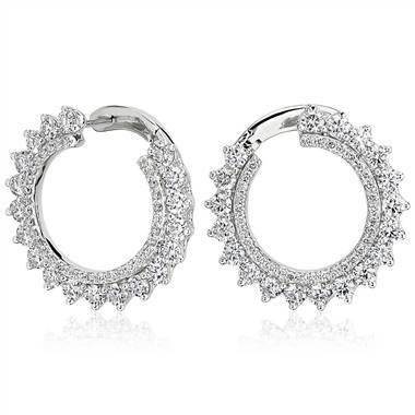 Diamond Front-Back Sunburst Hoop Earrings in 14k White Gold (3 1/2 ct. tw.)