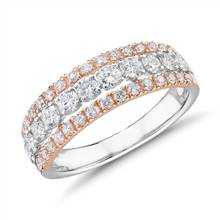 Diamond Graduated Triple Row Fashion Ring in 14k White and Rose Gold (1 ct. tw.) | Blue Nile