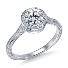 Diamond Halo Cathedral Engagement Ring in 18K White Gold | B2C Jewels