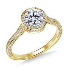 Diamond Halo Cathedral Engagement Ring in 18K Yellow Gold | B2C Jewels