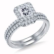 Diamond Halo Ring for Princess or Asscher Cut with Matching Band in 14K White Gold   B2C Jewels