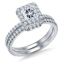 Diamond Halo Ring for Princess or Asscher Cut with Matching Band in 18K White Gold | B2C Jewels
