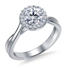 Diamond Halo Solitaire Engagement Ring with Twist Shank in 18K White Gold | B2C Jewels